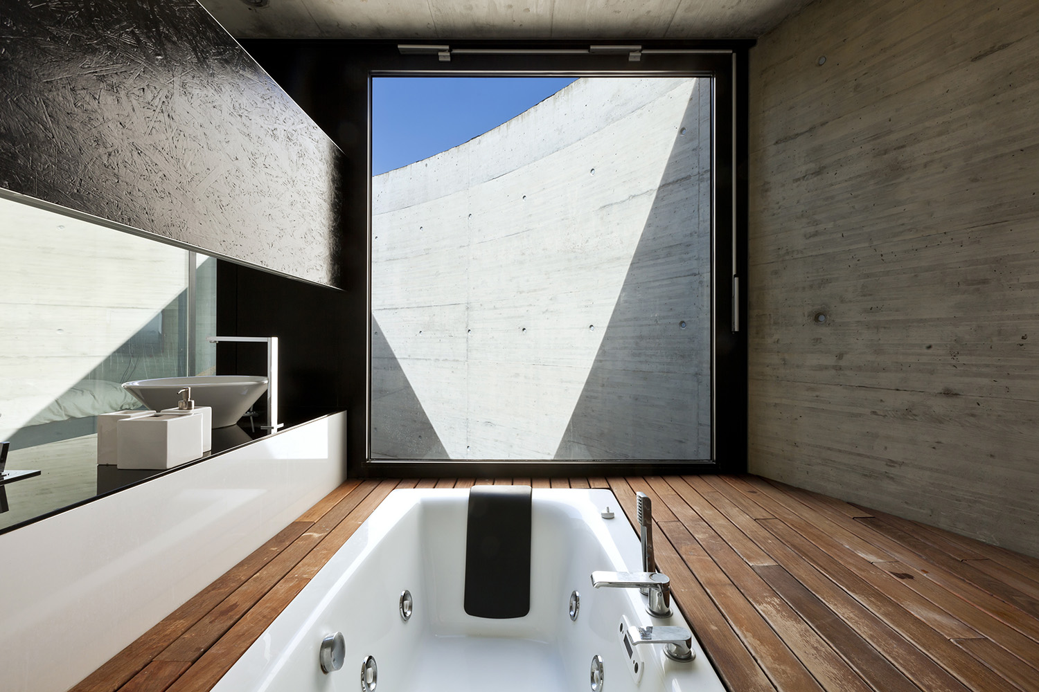 beautiful modern house in cement, interior, bathroom